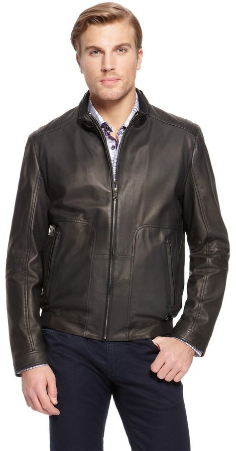 HUGO BOSS 'Nestroio' | Stand Collar Leather Jacket by BOSS
