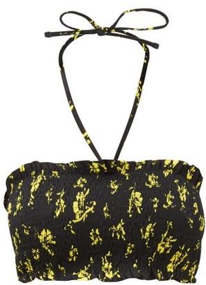 Ganni Floral-print Shirred Bandeau Bikini Top - Womens - Black Multi