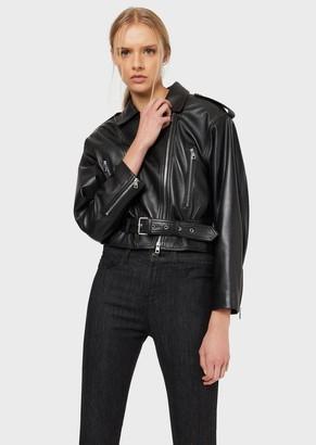 Emporio Armani Semi-Aniline Lambskin Nappa Leather Biker Jacket
