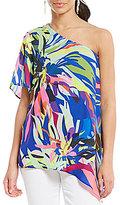 Gibson & Latimer One-Shoulder Tropical Floral Print Blouse