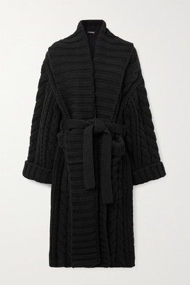 Dolce & Gabbana Oversized Belted Cable-knit Wool And Cashmere-blend Cardigan - Black