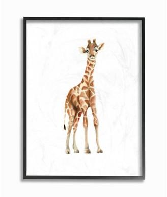 The Kids Room by Stupell Happy Baby Giraffe Illustration Framed Giclee Texturized Art, 11 x 1.5 x 14