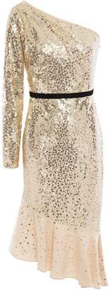 Marchesa Notte One-shoulder Embellished Metallic Tulle Dress