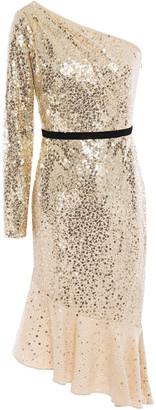 Marchesa One-shoulder Sequin-embellished Tulle Dress