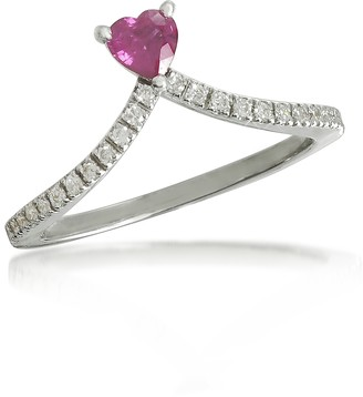 Forzieri Ruby Heart V-Shaped Diamonds Band Ring