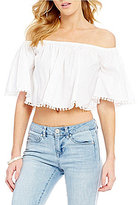 GB Off-The-Shoulder Short-Sleeve Pom-Pom Trim Cropped Poplin Top