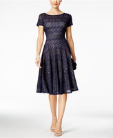 Sangria Sequined Lace Midi Dress