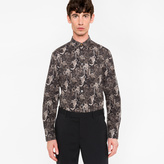 Paul Smith Men's Slim-Fit Black 'Monkey' Print Cotton Shirt With 'Artist Stripe' Cuff Lining