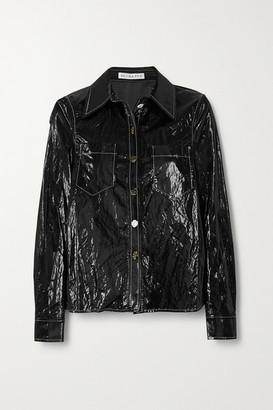 REJINA PYO Remi Topstitched Crinkled Coated-shell Shirt - Black