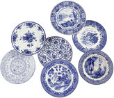 AA Importing Set of 7 Porcelain Plates, Blue/White