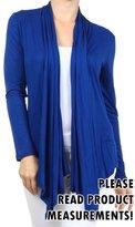 CurvyLuv.com Women's Plus Size Long Sleeve Draped Front Cardigan Open Sweater Casual