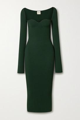 KHAITE Beth Ribbed-knit Midi Dress - Green