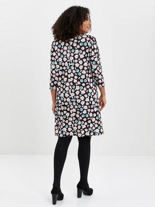 Evans Floral Zip Back Jersey Dress - Black