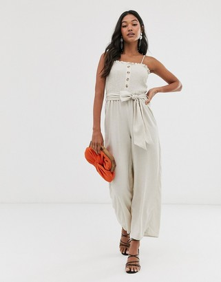 Stradivarius shirred bodice jumpsuit in beige