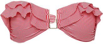 Melissa Odabash St Kitts Ruffled Striped Stretch-jersey Bandeau Bikini Top