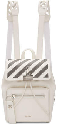 Off-White White and Black Diag Binder Clip Backpack