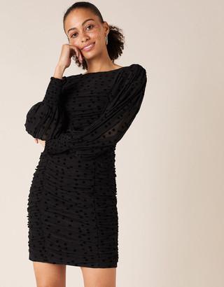 Monsoon Sophie Spot Stretch Ruched Dress Black