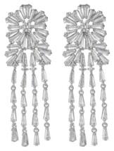 A&M A & M Silver-Tone Flower Chandelier Earrings