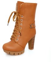 BalaMasa Womens High Heels Mid Calf Solid PU Autumn And Winter Boots