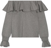 Opening Ceremony Gigi Off-the-shoulder Ruffled Cotton-blend Jersey Top - Gray