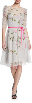 Monique Lhuillier Embroidered Chantilly Lace Cocktail Dress