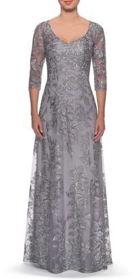 La Femme Floral Embroidered Mesh Evening Dress