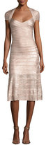 Herve Leger Foil Cap-Sleeve Bandage Midi Dress, Pink Metallic