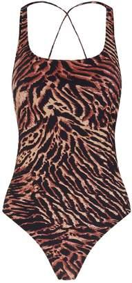 Ganni Tiger Print Swimsuit