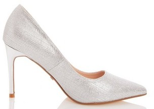 Dorothy Perkins Womens *Quiz Silver Glitter Point Toe Court Shoes, Silver