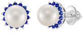 Bliss Pearl & Blue Cubic Zirconia Halo Stud Earrings