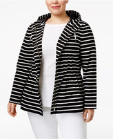 Charter Club Plus Size Striped Anorak, Only at Macy's