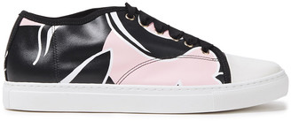 Lanvin Printed Smooth And Patent-leather Sneakers