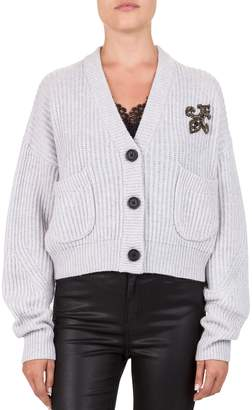 The Kooples Fleur-De-Lis Wool Cashmere Cropped Cardigan