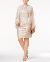 Alex Evenings Plus Size Lace Capelet Dress