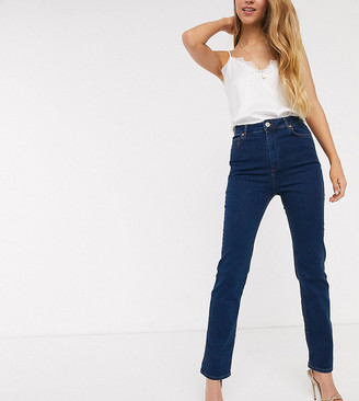 Asos Tall ASOS DESIGN Tall Super high rise sculpting 'sassy' cigarette jeans in mid blue