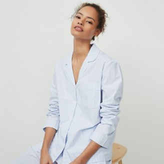 The White Company Cotton Chalk Stripe Pyjama Shirt, Blue Stripe, Extra Large