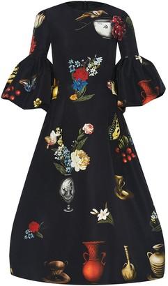 Oscar de la Renta Chiaroscuro-Print Bell-Sleeve Dress