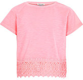 River Island Girls pink crochet hem short sleeve top