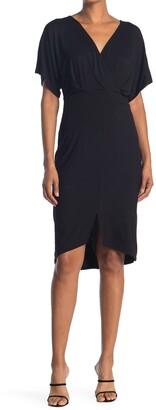 WEST KEI Surplice Short Sleeve Jersey Sheath Dress