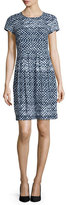 Lafayette 148 New York Gina Short-Sleeve Geometric-Print Dress, Ink Multi