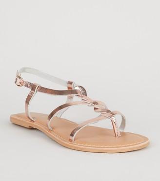 New Look Wide Fit Leather Plait Strap Sandals