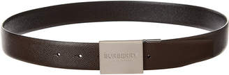 Burberry Plaque Buckle Reversible Leather Belt