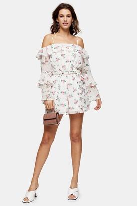 Topshop Womens White Floral Print Bardot Playsuit - White
