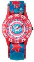 Marvel Avengers Children's Captain America Shield Time Teacher Watch in Red w/Nylon Strap