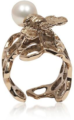 Honeycomb Bronze Ring w/ Bee & Pearl