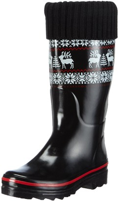 Beck Womens Rentier Warm Lined Rubber Boots Long Shaft Boots & Bootees Black Size: 3.5