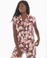 Soma Intimates Cap Sleeve Notch Collar Pajama Top Charmed Floral Merlot