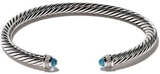 David Yurman Cable Classic blue topaz and diamond cuff bracelet