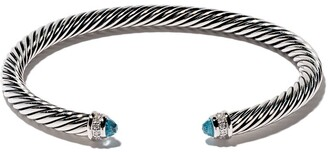 David Yurman sterling silver Cable Classic blue topaz and diamond cuff bracelet