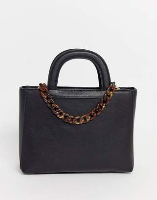 Dune tote bag with structured handle in black